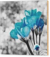 Near Bloom Blue Wood Print