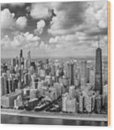 Near North Side And Gold Coast Black And White Wood Print