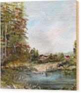 Near The Pond Wood Print