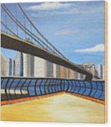 Neath The Brooklyn Bridge Wood Print