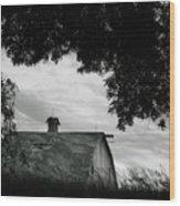 Nebraska - Barn - Black And White Wood Print