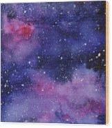 Nebula Watercolor Galaxy Wood Print