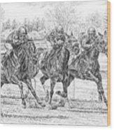 Neck And Neck - Horse Racing Art Print Wood Print
