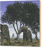 Nedoceratops Graze Beneath A Giant Oak Wood Print