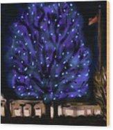 Needham's Blue Tree Wood Print