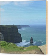 Needle Rock Formation With Blue Skies On The Cliff's Of Moher Wood Print