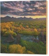 Needle Rock Sunrise Wood Print