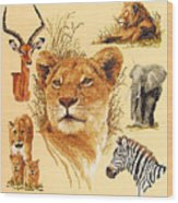 Needlework - African Animals Wood Print