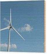 Neeltje Jans Oosterscheldekering Zeeland The Netherlands.  Wind Turbines Wood Print