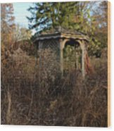 Neglected Old Gazebo Wood Print