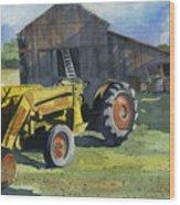 Neighbor Dons Tractor Wood Print