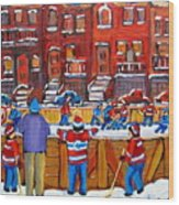 Neighborhood  Hockey Rink Wood Print