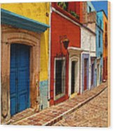 Neighbors Of The Yellow House Wood Print by Mexicolors Art Photography