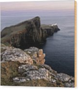 Neist Point Lighthouse, Isle Of Skye, Scotland Wood Print