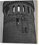 Nenagh Castle Tower Bw Wood Print