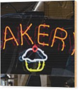 Neon Bakery Sign Wood Print