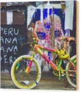 Neon Bike Wood Print