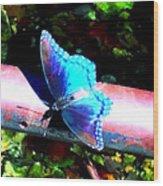 Neon Butterfly Wood Print