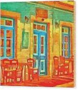 neon Cafe Wood Print