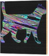 Neon Cat Cool Wood Print