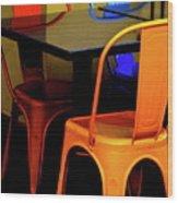 Neon Chairs 1 Wood Print
