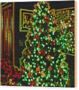 Neon Christmas Tree Wood Print