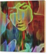Neon Color Bob Dylan Wood Print