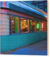 Neon Diner Wood Print by Crystal Nederman