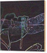 Neon Dragon Fly Wood Print