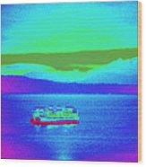Neon Ferry Wood Print
