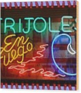 Neon Frijoles And Peppers And Gas Wood Print