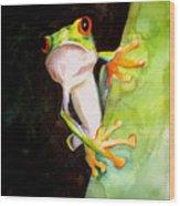 Neon Frog Wood Print