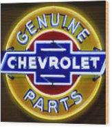 Neon Genuine Chevrolet Parts Sign Wood Print