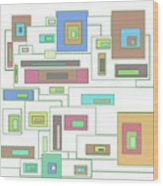 Neon Geometrics 2 Wood Print