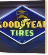 Neon Goodyear Tires Sign Wood Print
