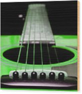Neon Green Guitar 18 Wood Print