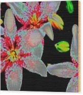 Neon Lilies Wood Print
