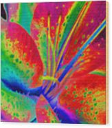 Neon Lily Wood Print