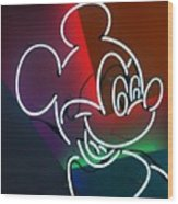 Neon Mickey Wood Print