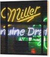 Neon Miller Beer Wood Print