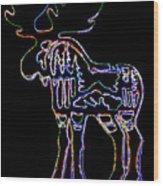 Neon Moose Wood Print