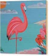 Neon Island Flamingo Wood Print