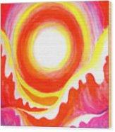 Neon Red Sky And Sea Wood Print