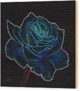 Neon Rose 3 Wood Print