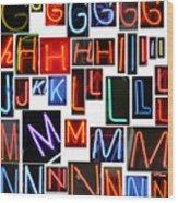 neon series G through N Wood Print