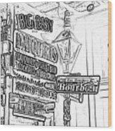 Neon Sign On Bourbon Street Corner French Quarter New Orleans Black And White Photocopy Digital Art Wood Print