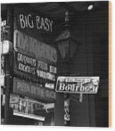 Neon Sign On Bourbon Street Corner French Quarter New Orleans Black And White Wood Print