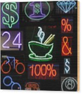 Neon Sign Series Of Various Symbols Wood Print