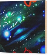 Neon Stars, Green Galaxy And Ufo Wood Print