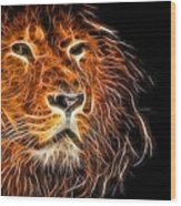 Neon Strong Proud Lion On Black Wood Print